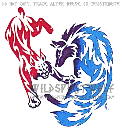 Wolf and color tattoo. Bobcat clipart tribal