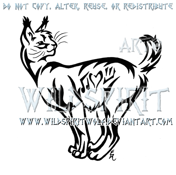Bobcat clipart tribal. Serval and symbols design
