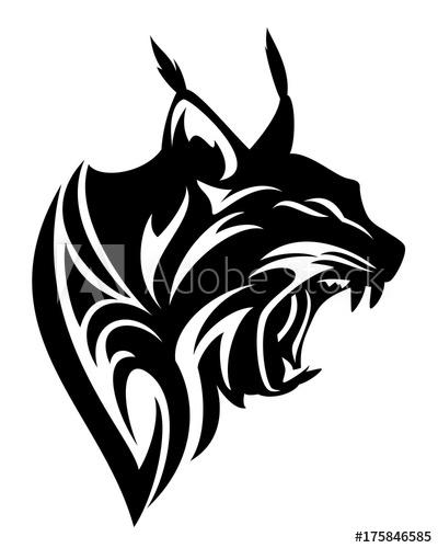 Bobcat clipart tribal. Roaring lynx profile head