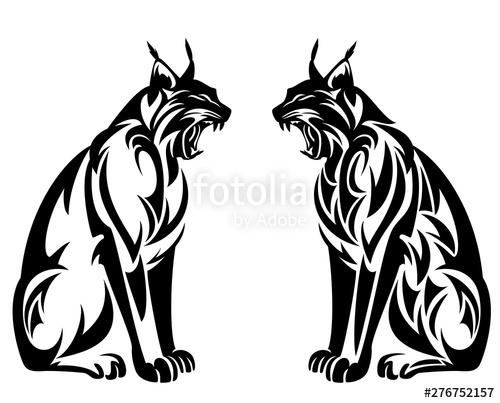 Wild lynx roaring sitting. Bobcat clipart tribal