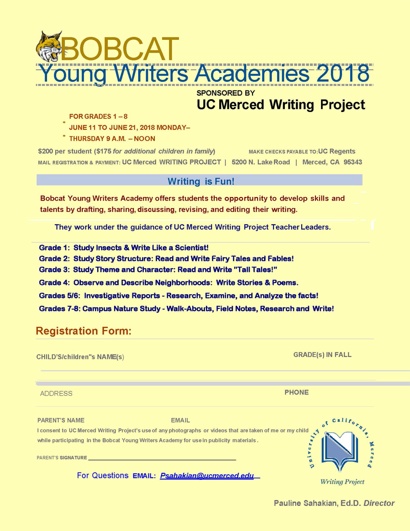 Young writers academy writing. Bobcat clipart uc merced