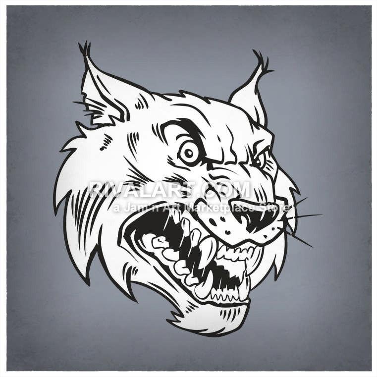 Wildcats bobcats head mascot. Bobcat clipart vector