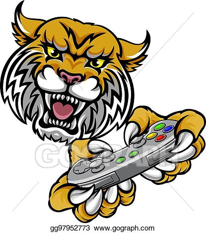 Bobcat clipart wildcat. Vector art player gamer