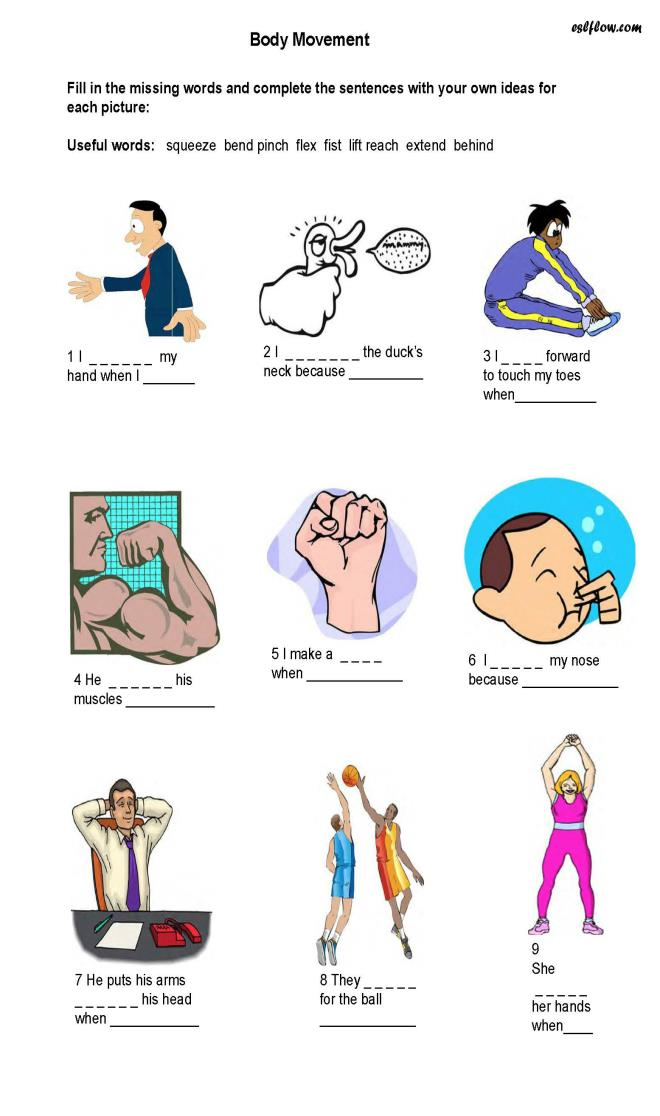 Body clipart body movement. Movements worksheet the best