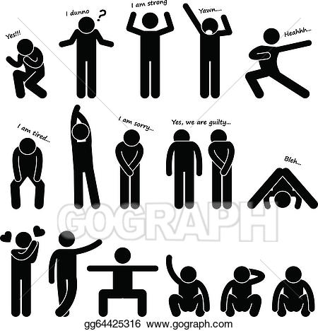 Vector illustration man people. Body clipart body position