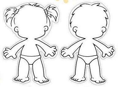 Human drawing outline at. Body clipart boy's
