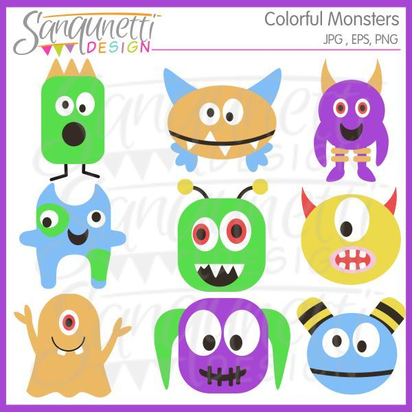 Colorful monsters includes bright. Body clipart boy's