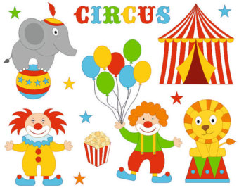 Hand drawn circus clip. Body clipart clown