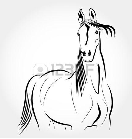 Horse stylized portrait icon. Body clipart cowboy