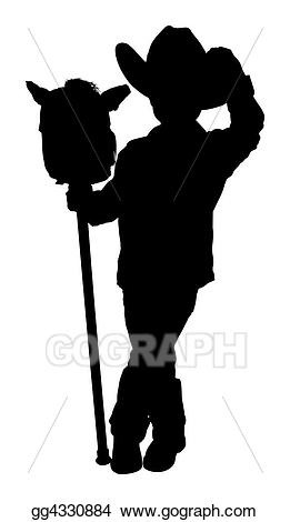 Body clipart cowboy. Stock illustration silhouette with