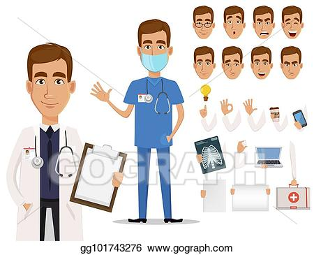 Vector illustration young professional. Body clipart doctor