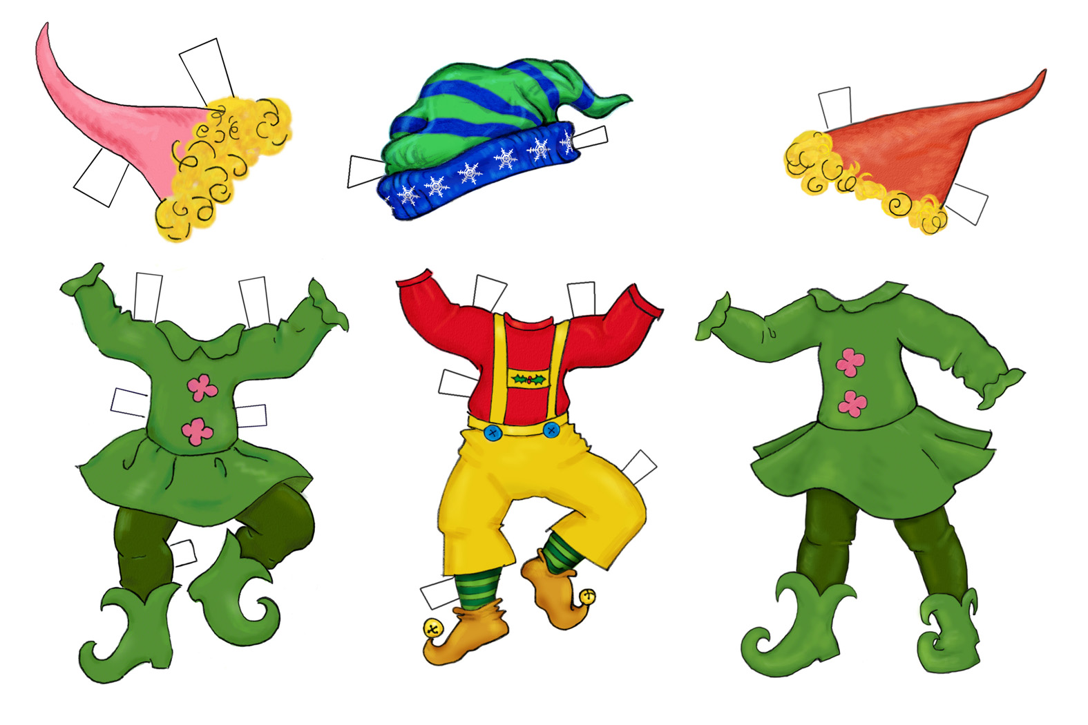 Happy paper dolls . Elves clipart body