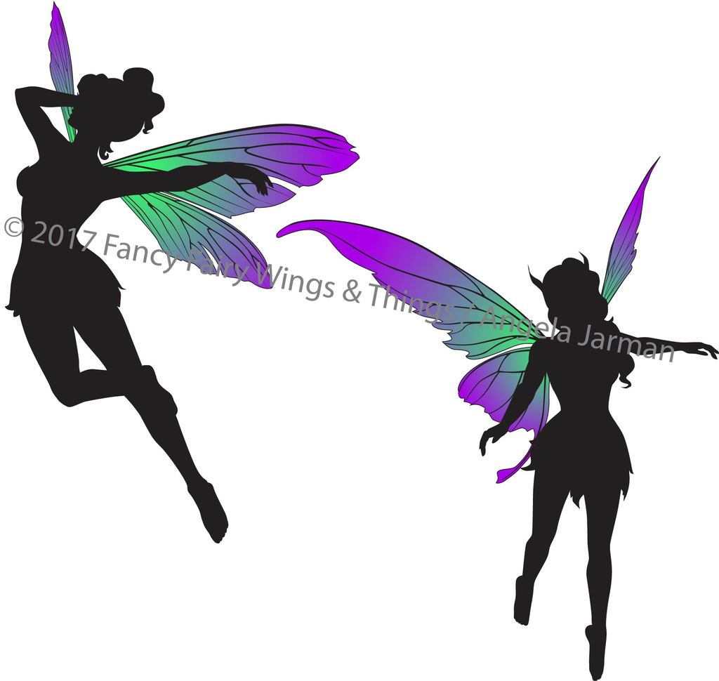 Fairy clipart body. Flying fairies silhouettes clip