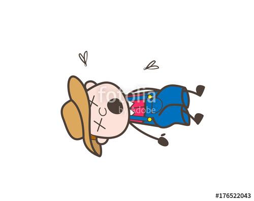 Cartoon character dead vector. Body clipart farmer