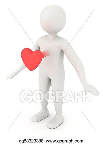 Body clipart heart. Stock illustration scared d