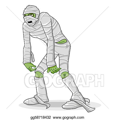 Vector wrapped in bandage. Body clipart mummy