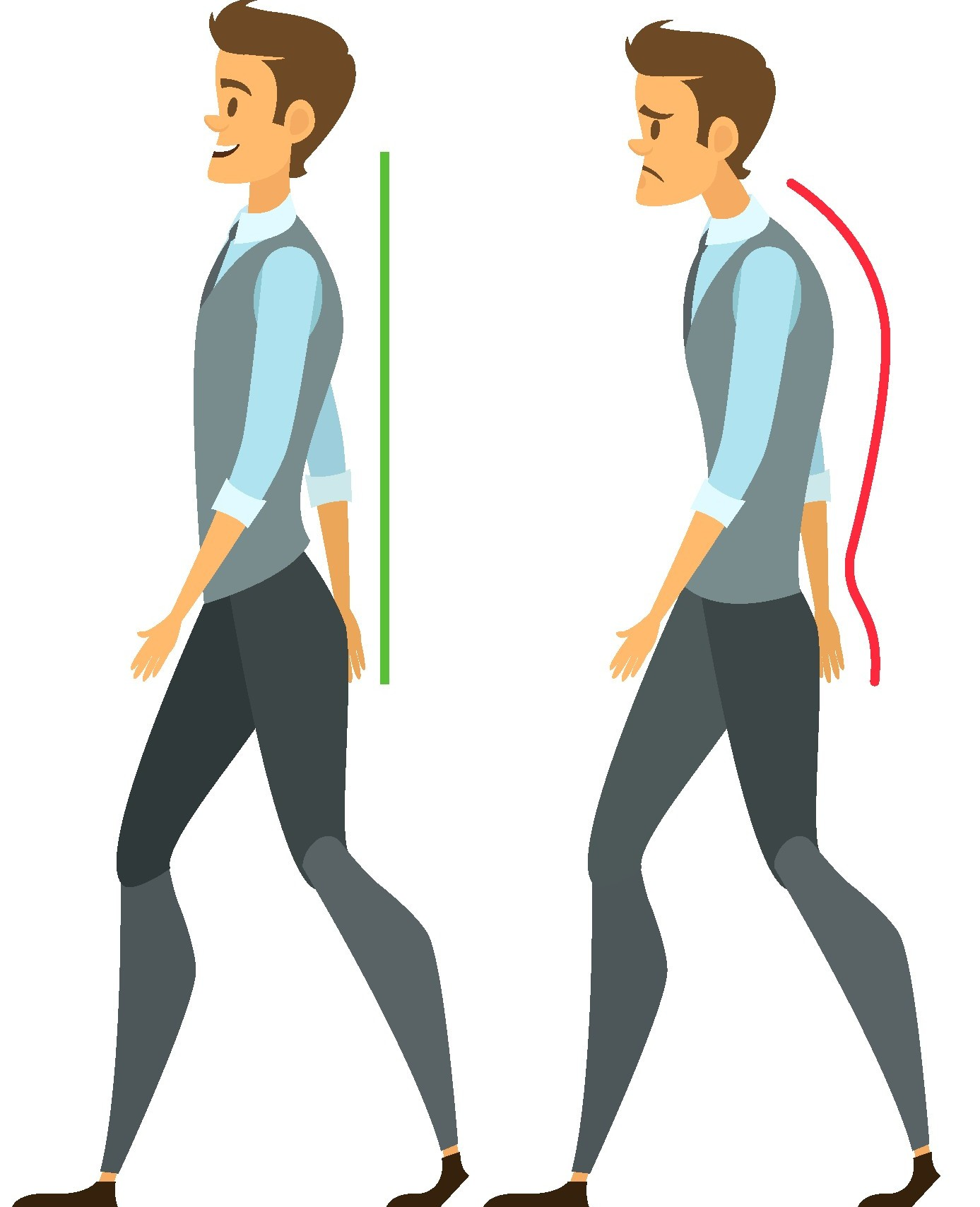 Flat back a in. Body clipart posture