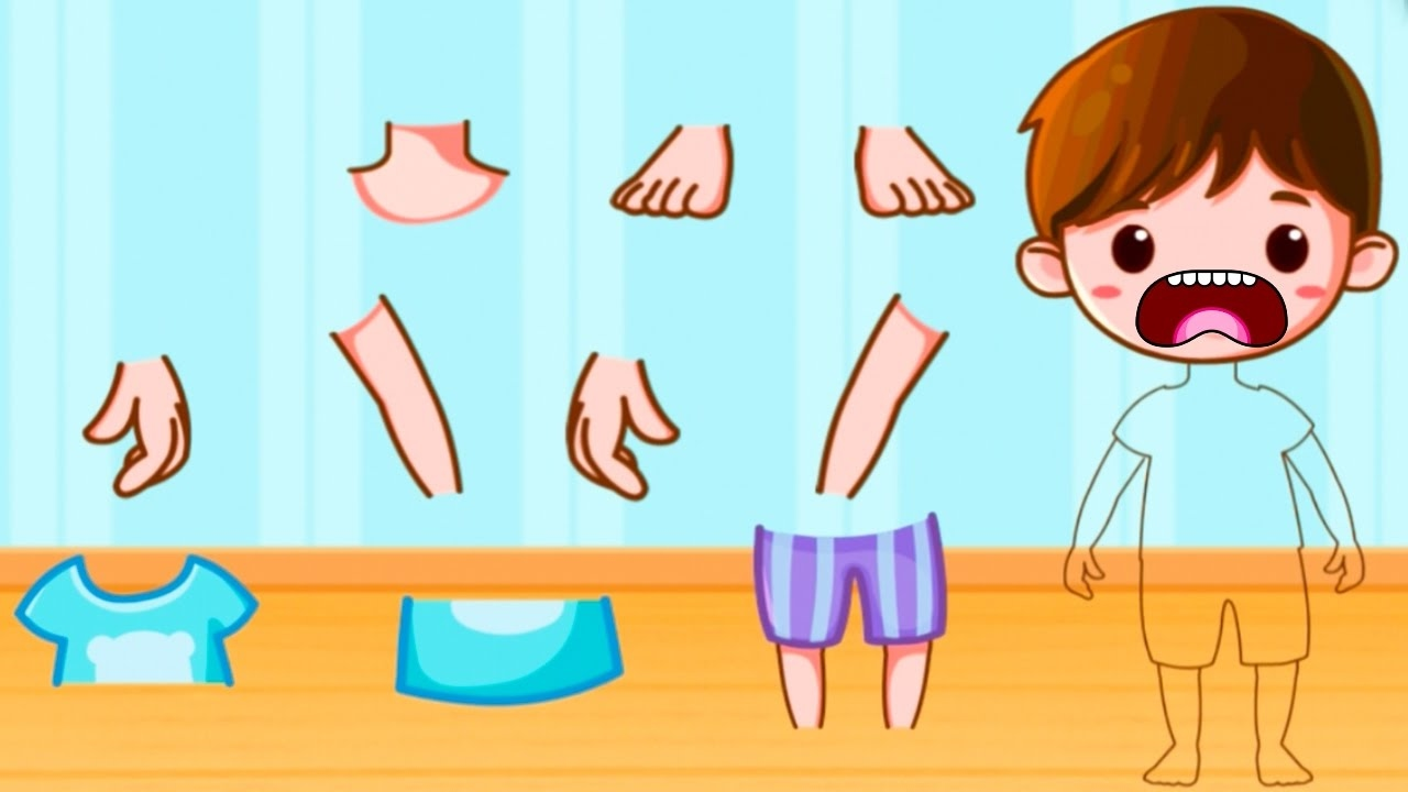 Body clipart puzzle. Baby learn parts fun