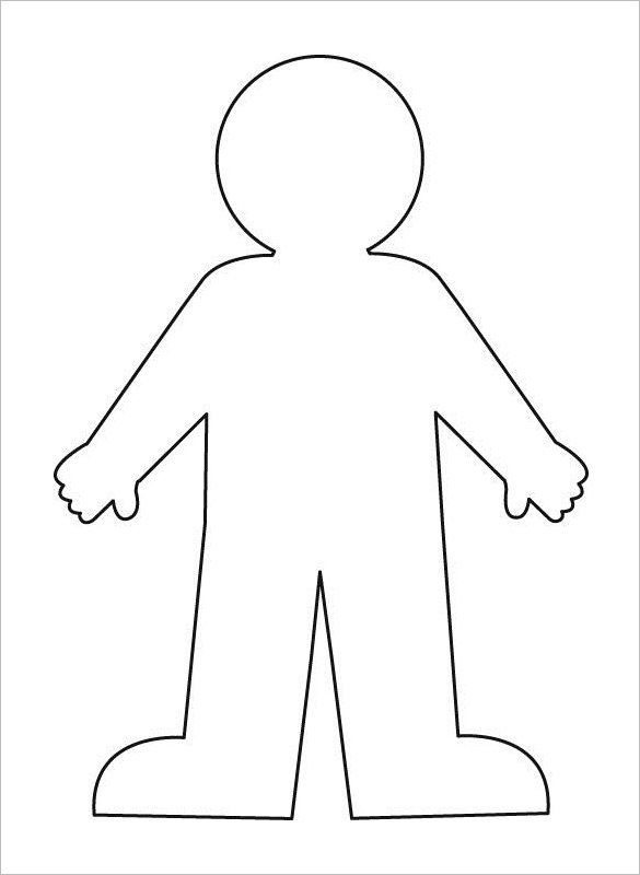 Outline template free word. Body clipart simple human
