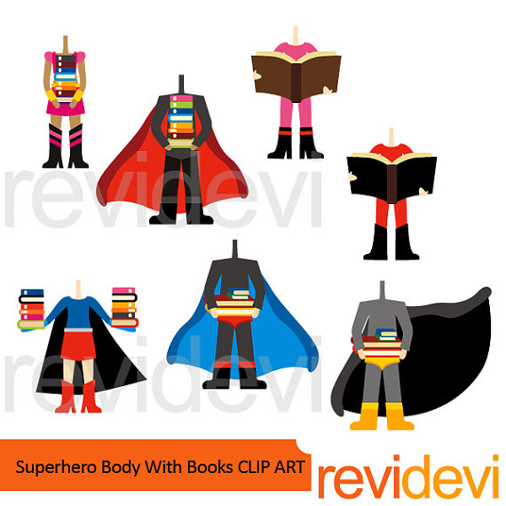 Body clipart superhero. Sale with books digital