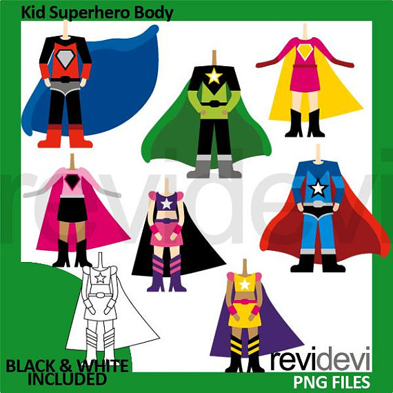 Kid boys girls costumes. Body clipart superhero