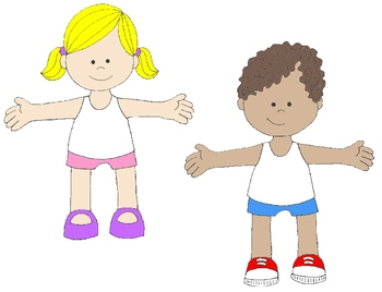 Kids in action paper. Body clipart toddler