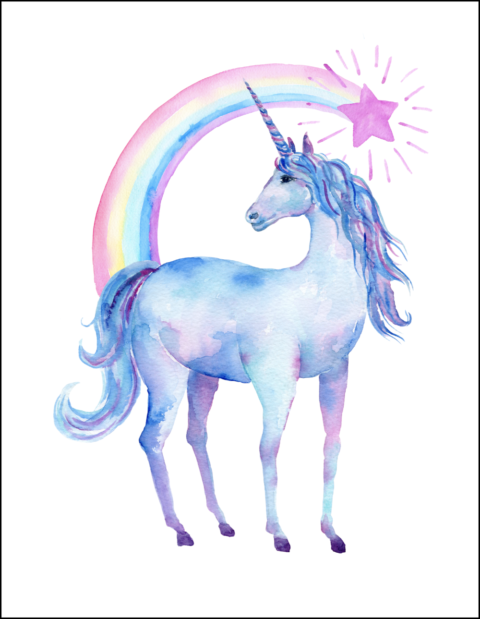Free printable watercolor pictures. Body clipart unicorn