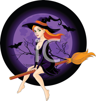 Body clipart witch. Halloween flying on a