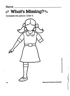 Body clipart worksheet. Awareness whats missing early