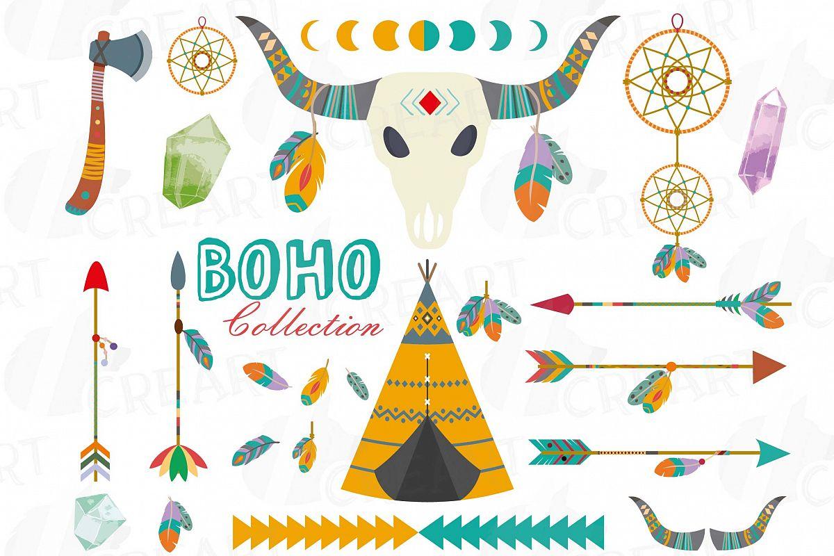Tribal clip art collection. Boho clipart