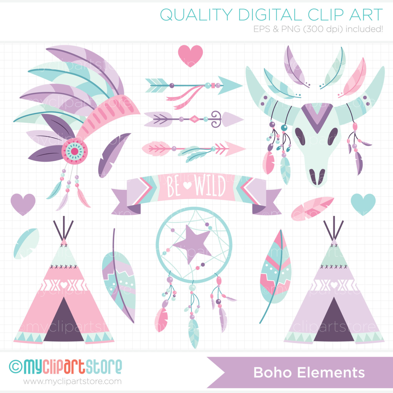 Elements pink and purple. Boho clipart