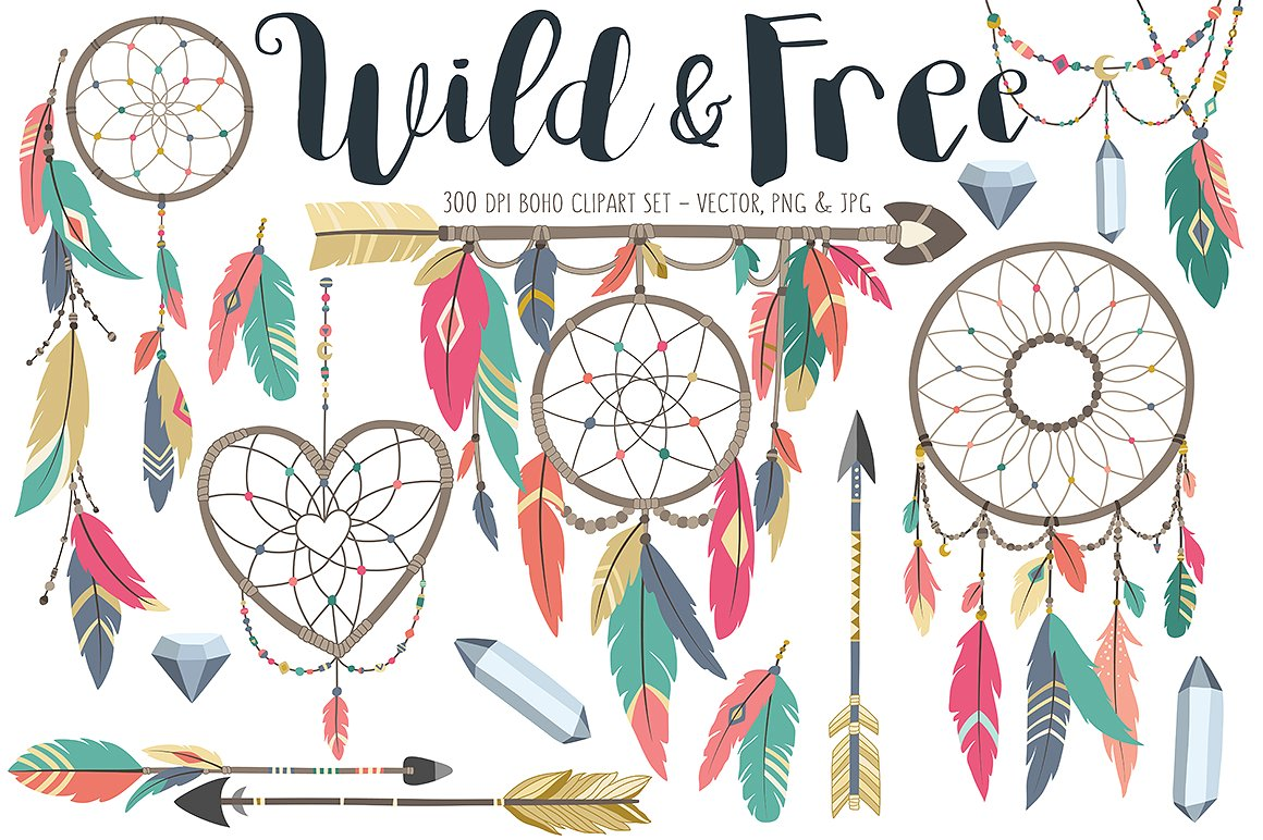Tribal design elements illustrations. Boho clipart