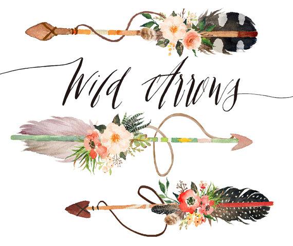 Watercolor wild arrows clip. Boho clipart