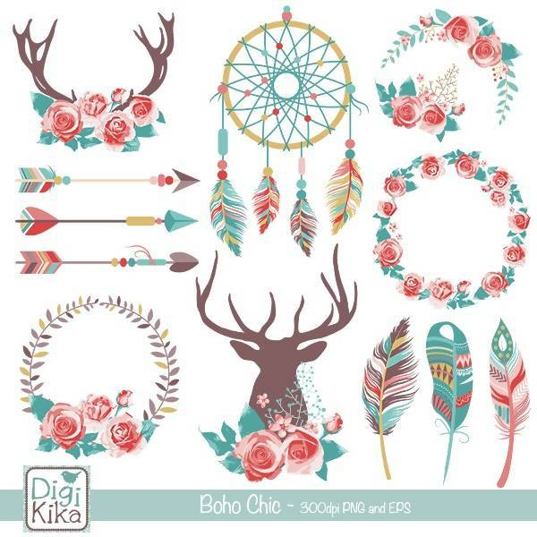 Chic rustic wedding clip. Boho clipart