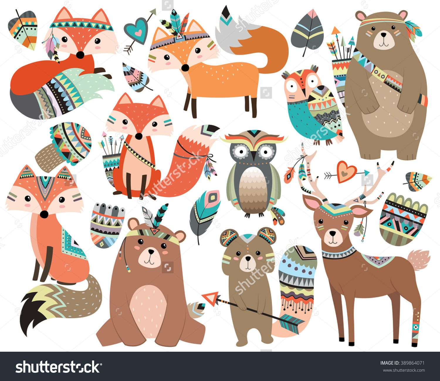 Woodland tribal forest animals. Boho clipart animal