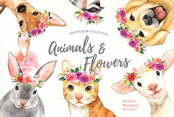 Animals flowers watercolor illustrations. Boho clipart animal