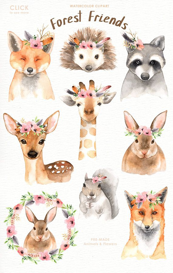 Forest friends watercolor clip. Boho clipart animal