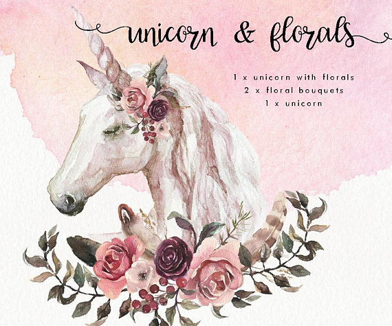 Boho clipart animal. Watercolor unicorn clip art