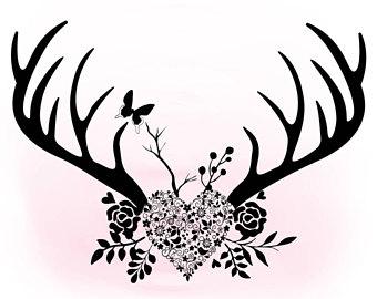 Antlers clipart boho. Floral svg antler hornes