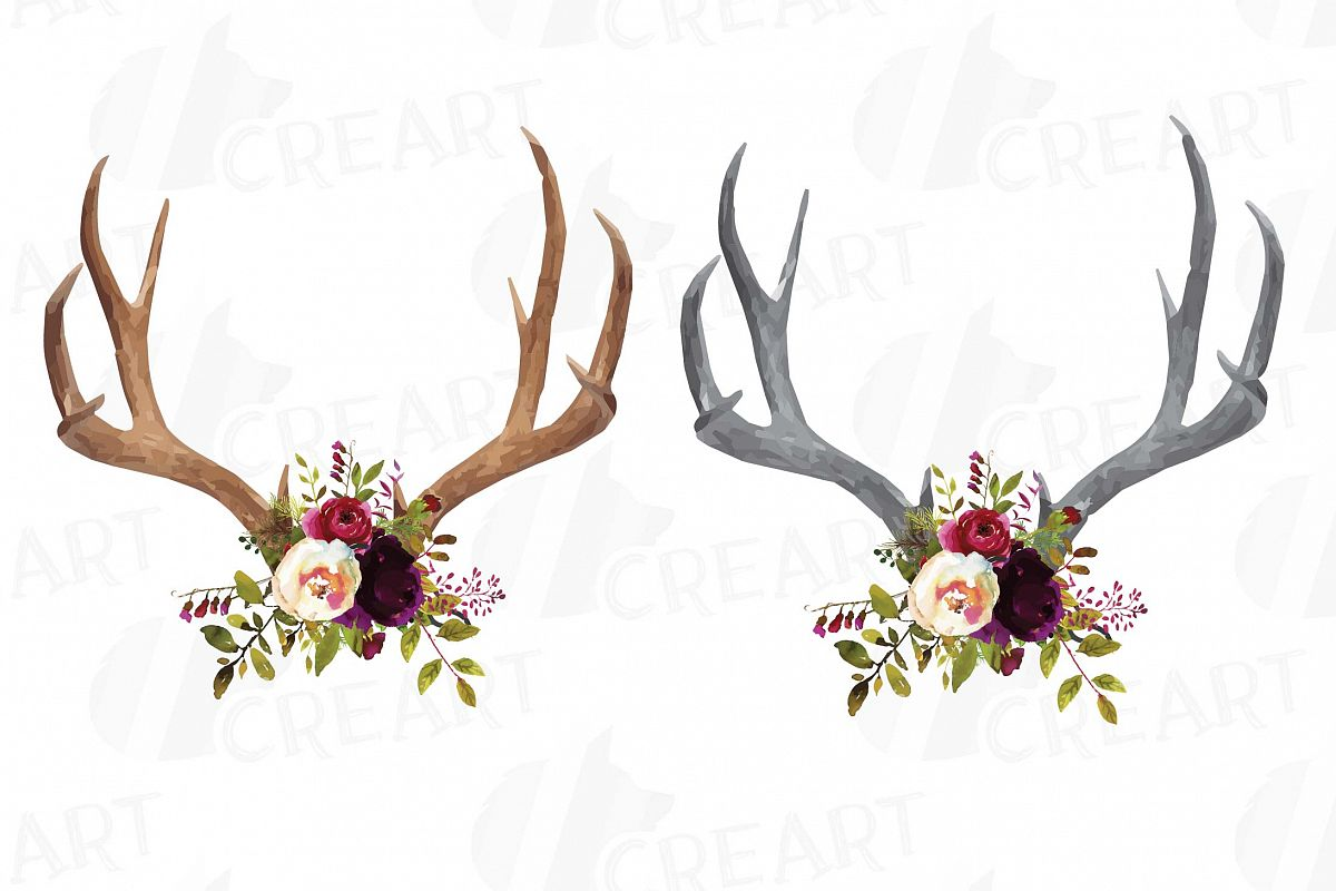 Boho clipart antler. Watercolor floral deer horn