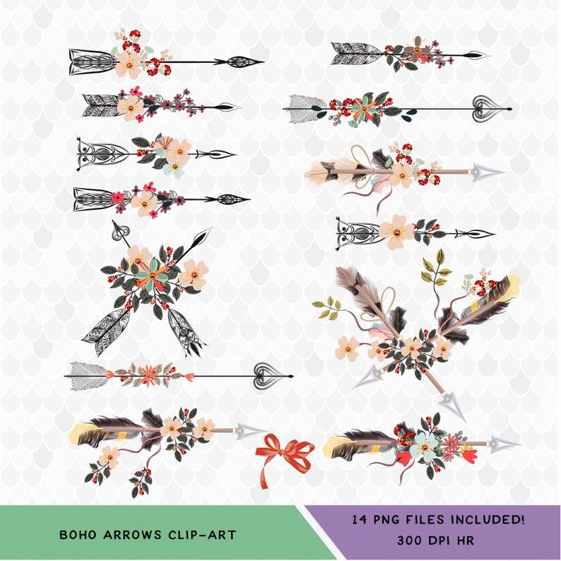 Boho clipart arrow. Bohemian decal for shops
