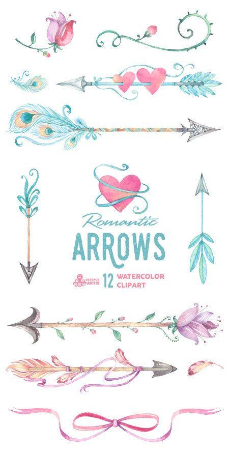 Boho clipart arrow. Romantic arrows watercolor hand