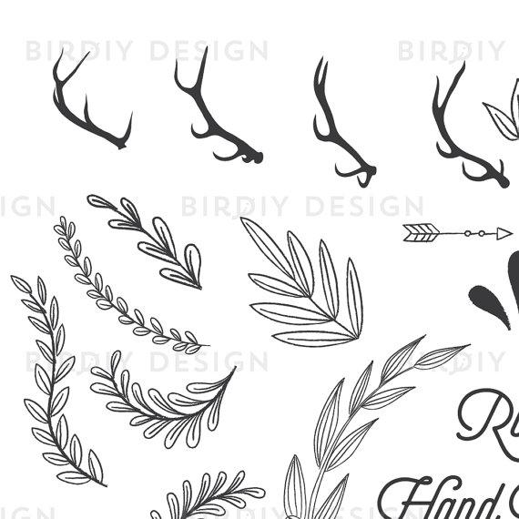 Boho clipart banner. Rustic woodland bundle antlers