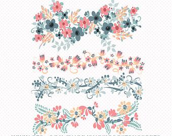 Borders etsy digital floral. Boho clipart banner