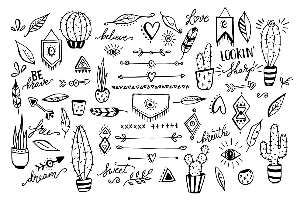Cactus feather arrow by. Boho clipart black and white