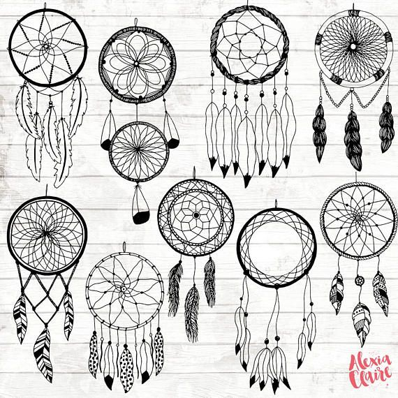 Boho clipart black and white. Dream catcher hand drawn