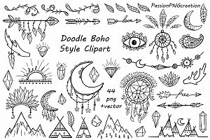 Doodle style illustrations creative. Boho clipart black and white
