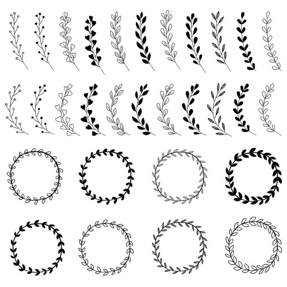 Rustic wedding bundle wreaths. Boho clipart black and white