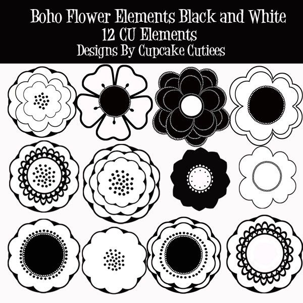 Boho clipart black and white. Cookie pattern inspiration flowers