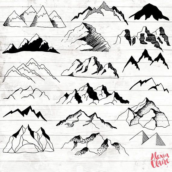 Mountain hand drawn vector. Boho clipart black and white